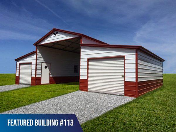 44' x 25' x 12'/8' Metal Horse Barn
