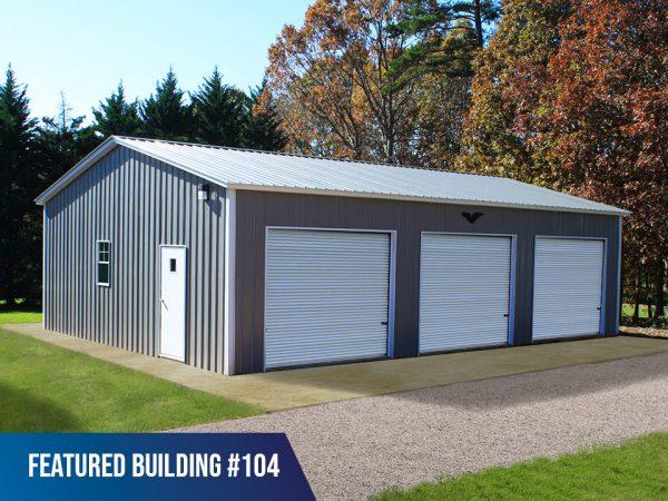 28x40x10 3-bay metal garage