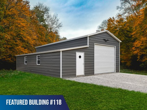 26' x 40' x 12'/7' Garage with Lean-To