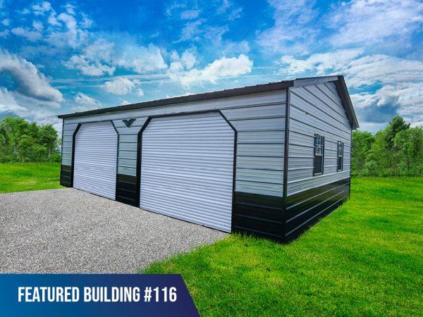 24' x 30' x 9' Double Metal Garage