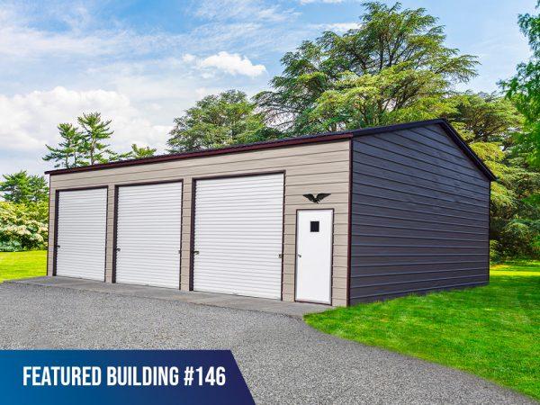 30x45x12 3-Bay Metal Garage